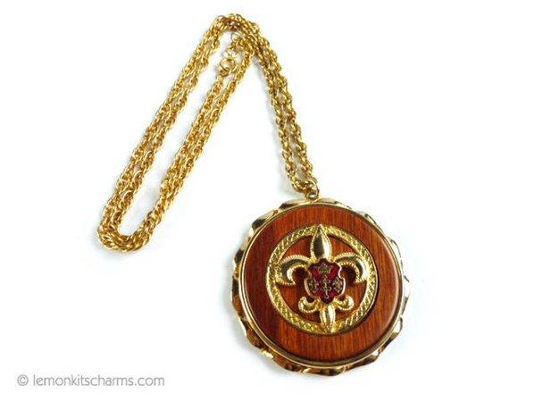 Vintage Fleur De Lis Wooden Pendant Necklace Jewelry 1960s | Etsy