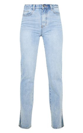 Light Wash Split Hem Jeans | Denim | PrettyLittleThing USA