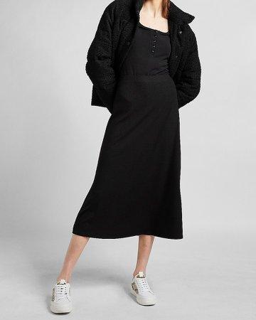 High Waisted Ribbed Knit Midi Skirt