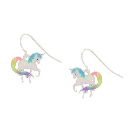 "1"" Rainbow Holographic Unicorn Drop Earrings | Claire's US"