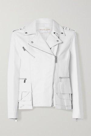 Ruffled Leather Biker Jacket - White