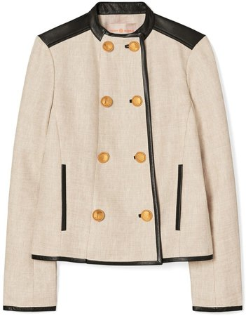 Leather-Trimmed Linen Jacket