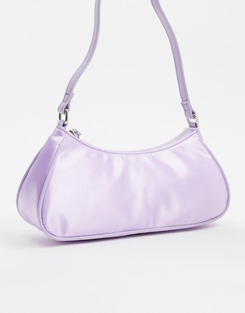 ASOS DESIGN elongated 90s shoulder bag in lilac satin | ASOS
