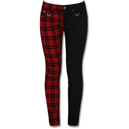Half Plaid Red & Half Black Jeans