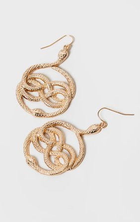 Gold Twisted Snake Drop Earrings | PrettyLittleThing