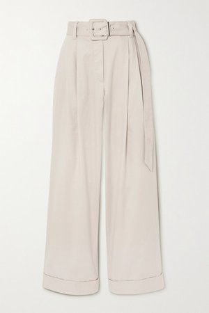 Belted Bead-embellished Pleated Cotton-blend Twill Wide-leg Pants - Ivory
