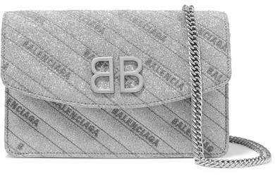Bb Glittered Leather Shoulder Bag - Silver