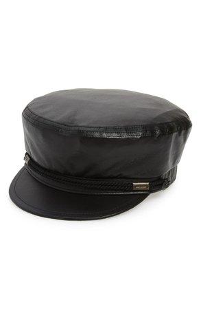 Saint Laurent Leather Baker Boy Hat | Nordstrom