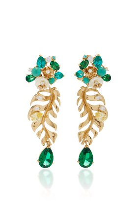 Anabela Chan M'O Exclusive Emerald Palm Earrings