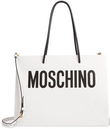 Logo Leather Shopping Bag