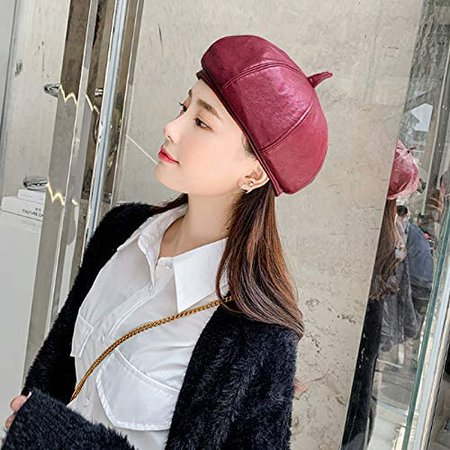 Danse Jupe Women Faux Leather Solid Beret French Artist Tam Beanie Hat Cap Burgundy at Amazon Women's Clothing store