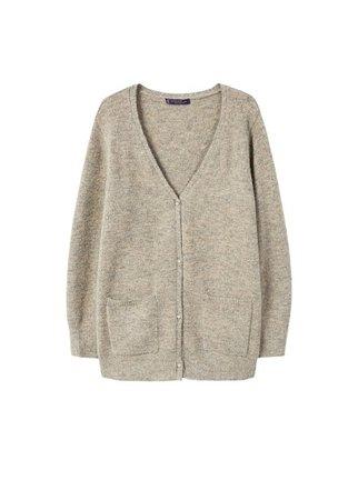 Violeta BY MANGO Flecked wool-blend cardigan