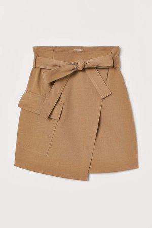 Wrapover Twill Skirt - Beige