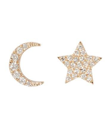 EF Collection Mini Diamond Moon & Star Stud Earrings | INTERMIX®