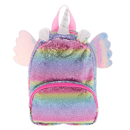 Claire's Club Rainbow Flying Unicorn Sequins Backpack | Claire's