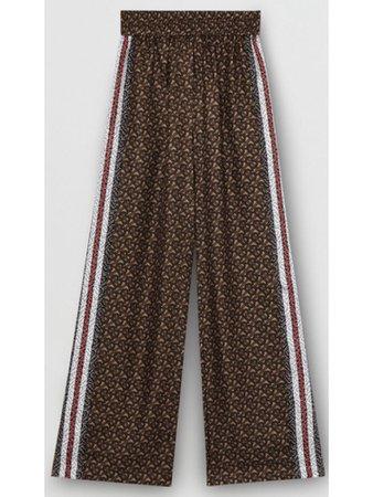Burberry Monogram Print Straight Silk Trousers