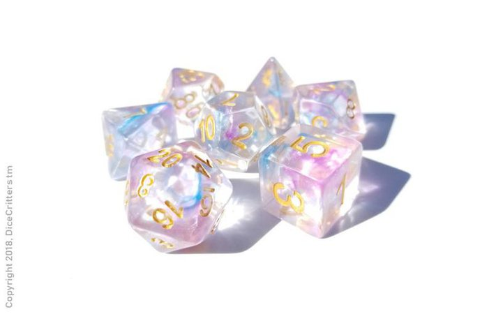DnD Dice Set / Pink Blue Clear Unicorn Tears / | Etsy