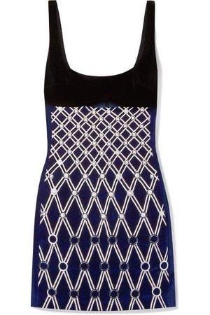 DAVID KOMA Embellished Embroidered Cotton-blend Velvet Mini Dress In Midnight Blue