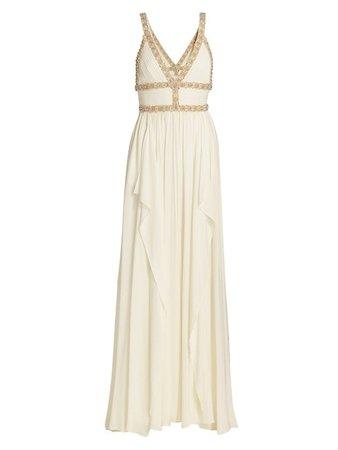Elie Saab, Embellished Silk Chiffon Cape Gown
