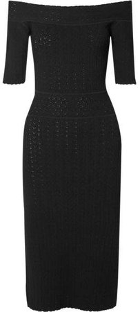 Stansfield Off-the-shoulder Pointelle-knit Dress - Black