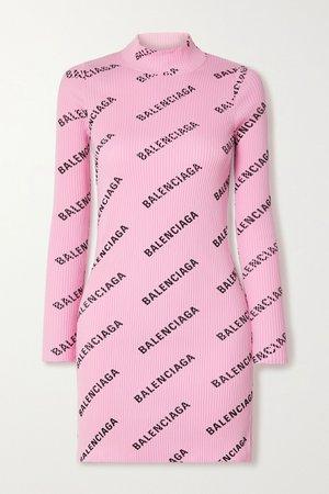 Pink Printed ribbed-knit mini dress | Balenciaga | NET-A-PORTER