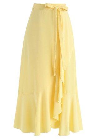 Simple Base Asymmetric Ruffle Midi Skirt in Yellow - Retro, Indie and Unique Fashion