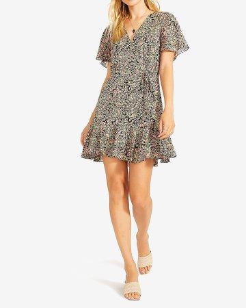 Bb Dakota Floral Wrap Front Mini Dress