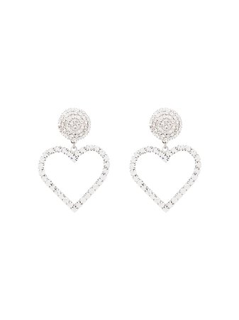 Alessandra Rich Crystal Heart Drop Earrings | Farfetch.com