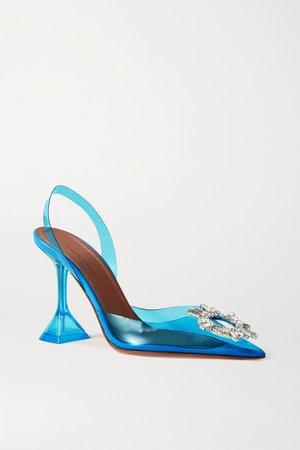 Begum Crystal-embellished Pvc Slingback Pumps - Blue