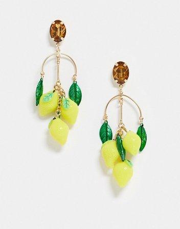 Monki rhinestone lemon drop earrings in yellow | ASOS