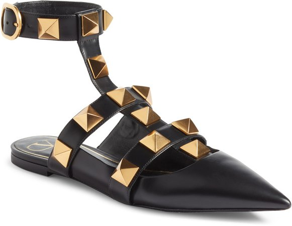 Roman Stud Ankle Strap Flat