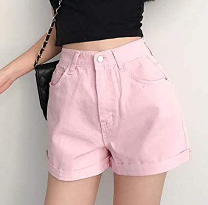 FelixStore Pink Solid Denim Shorts Women Cuffed High Waist Sexy Female Shorts Spring Summer Pocket Basic Slim Jeans Short Feminino