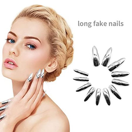 *clipped by @luci-her* JUSTOTRY 24Pcs Extra Long Silver Press on Nails Stiletto Solid color Fake Nails Art Tips Gel Acrylic Nail Kit, Ballerina False Nails with Adhesive Tabs for Women Girls : Beauty