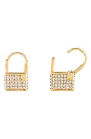 Adina's Jewels Pavé Lock Huggie Hoop Earrings | Nordstrom