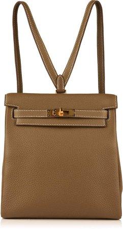 Rare & Unique 22cm Etoupe Clemence Leather Kelly Ado Backpack