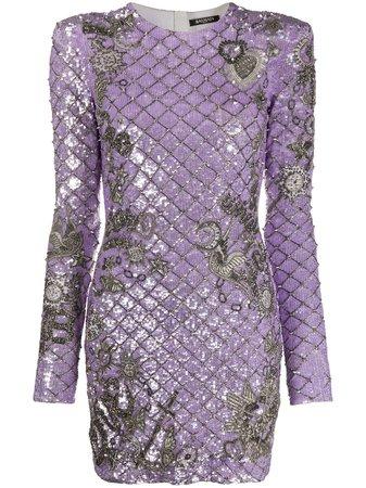 Balmain Robe Courte Brodée De Sequins - Farfetch