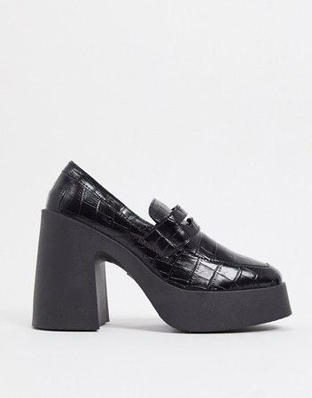 ASOS DESIGN Profile chunky high heeled loafer in black croc | ASOS