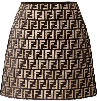 Flocked Woven Mini Skirt - Black
