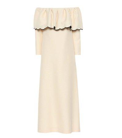 Off-the-shoulder crêpe dress