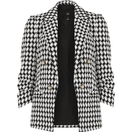 White dogtooth check puff sleeve blazer | River Island