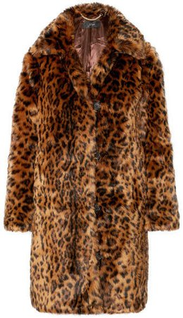 Leopard-print Faux Fur Coat - Brown
