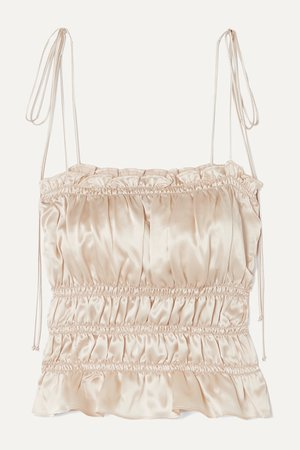 Ivory Viviana ruffled smocked silk-charmeuse top | Reformation | NET-A-PORTER