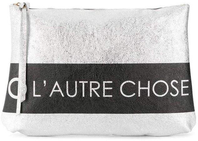 logo print clutch bag