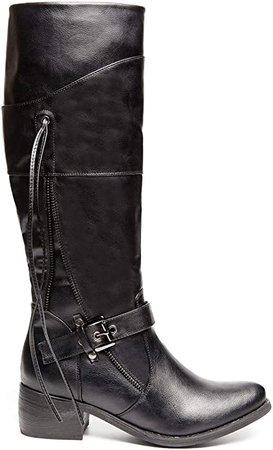 Amazon.com   ANN CREEK 'Elias' Knee High Tall Black Boots for Women Block Heels 9   Knee-High