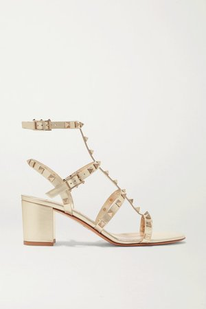 Garavani Rockstud 60 Leather Sandals - Gold