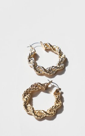 Gold Creole Chunky Hoop Earrings | PrettyLittleThing USA
