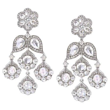 18 Karat White Gold 7.71ct Rose Cut Diamond Chandelier Flower Earrings For Sale at 1stDibs
