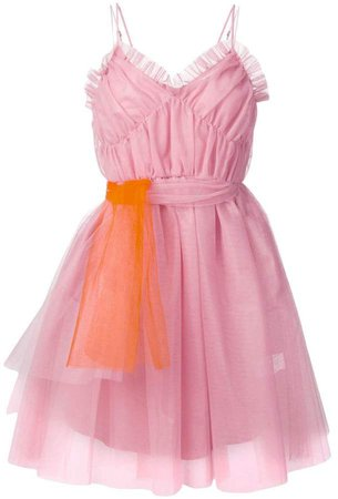 ruffle-trimmed tulle dress