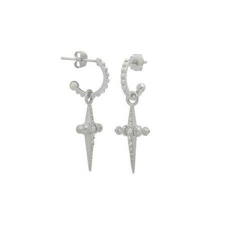 Pave Mini Cross Hoops- Silver | Luv Aj