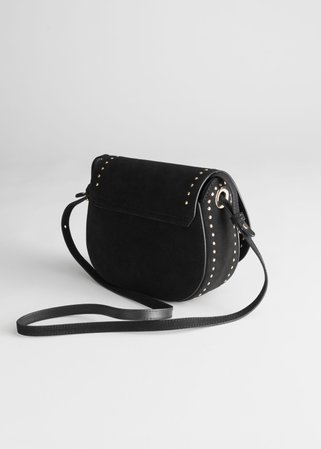 Studded Suede Shoulder Bag - Black - Shoulderbags - & Other Stories